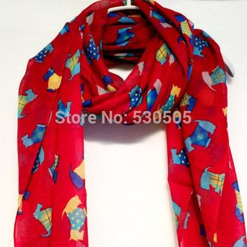 Red Multi Colour Scottish Terriers Autumn / Winter / Spring Summer Red Scarf free shipping 10pcs/lot
