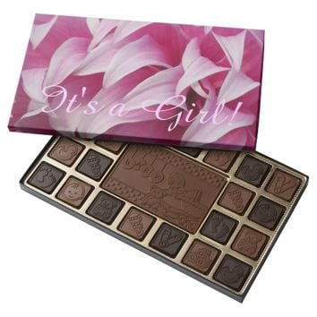Baby Girl Announcement Pink Petals Assorted Chocolates
