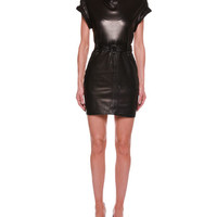 TOM FORD Rolled-Sleeve Belted Leather Dress
