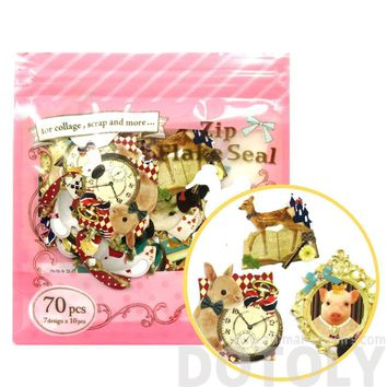 Alice in Wonderland Animals Themed Shaped Flake Seal Sticker Set | 70 Pieces