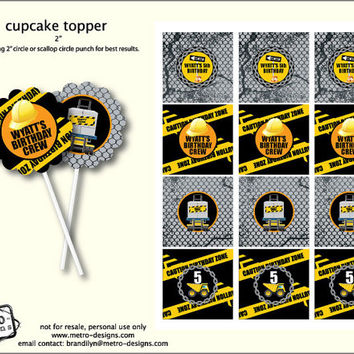 Construction - Cupcake Toppers, Favor Tags