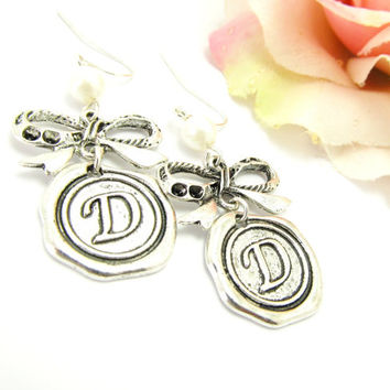 BowTie Initial Earrings, Antique Silver Bow Tie, Antique Silver Wax Seal Initial Tag, White Pearl, wedding , bridal