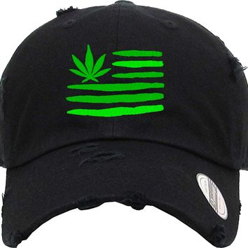 aaba4ca92d2 MARIJUANA FLAG Distressed Baseball Hat