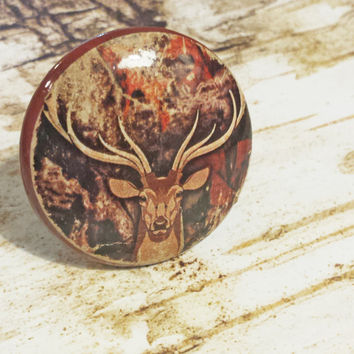 Cabin Decor Knobs, Handmade Deer Camo Drawer Pulls, Beautifully Distressed Cabinet Pull Handles, Twig Branches,  Dresser Knob, Man Cave