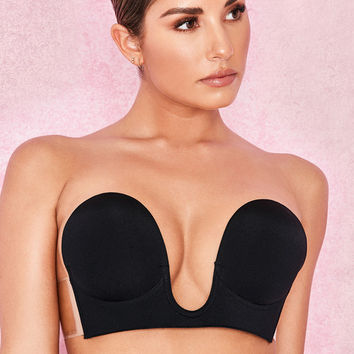 Intimates : U Plunge Black Self Adhesive Bra