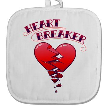 Heart Breaker Cute White Fabric Pot Holder Hot Pad by TooLoud