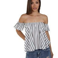 White Striped Flow Top