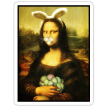 'Mona Lisa Easter Bunny with Whiskers' Sticker by Gravityx9