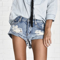 Rinsed Denim Denim High Waist Ripped Holes Pants Shorts [6328871233]