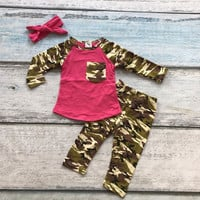 fall/winter boutique hot pink camouflage cotton clothes kids wear pocket pant outfits baby girls matching accessories bow