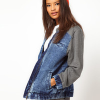 ASOS Denim Bomber Jacket with Jersey Sleeves