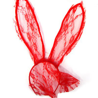 Lace Bunny Ears Headband with Veil - Red
