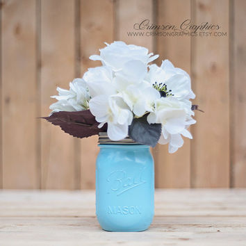 Painted Mason Jar, Wedding, Centerpiece, Vase, Baby Shower, Makeup Brush, Pencil Holder, Pint Jar, Light Blue