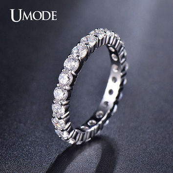 Cubic Zirconia Stacking Ring Cubic Zirconia Band Ring Engagement Ring Diamond Ring Silver Ring Eternity Ring Wedding Ring Anniversary