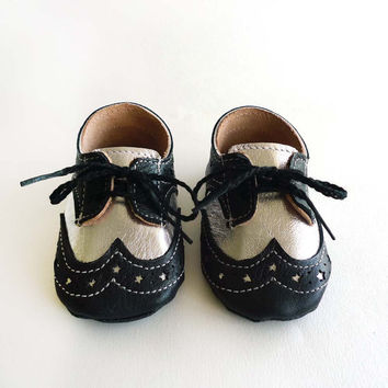Baby Boy Shoes Black and Silver Leather Crib Dress shoes