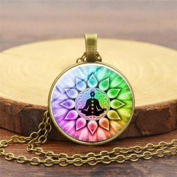 Chakra Reiki Healing Necklace Buddha Yoga Meditation Pendant Spiritual Om Symbol Hope Jewelry Chain Statement Necklace