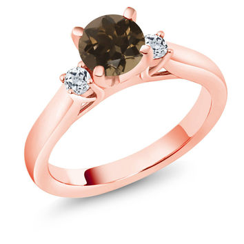 1.08 Ct Brown Smoky Quartz White Topaz 18K Rose Gold Plated Silver 3-Stone Ring