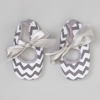 Gray & White Zigzag Booties | something special every day