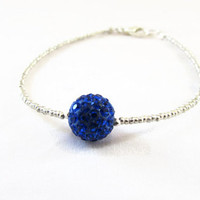 Silver and blue stacking bracelet , silver plated seed bead with glittery blue shamballa bead beaded simple bracelet , uk seller