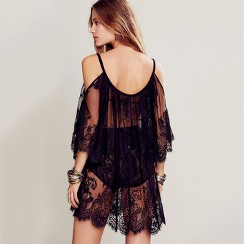 Sexy Beach Cover Up Lace Embroidered Mesh Cover Ups Long Sleeve Off Shoulder Swimsuit Cover Up Summer Tops Beach Wear