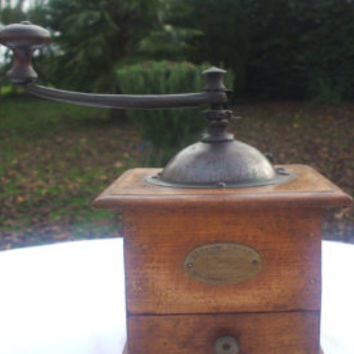 Antique wooden coffee grinder Peugeot Frères French coffee grinder vintagebetween 1880 and 1910