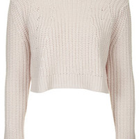 Chunky Ribbed Crop Jumper - Pale Pink
