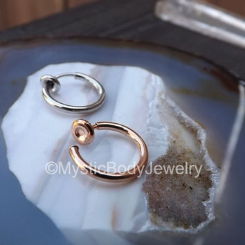 """14g Rose Gold Fake Septum Nose Ring Hoop 3/8"""" 10mm Lip Non-Piercing Spring Rings Silver Ear Jewelry Cartilage Piercings 316L Stainless Steel"""