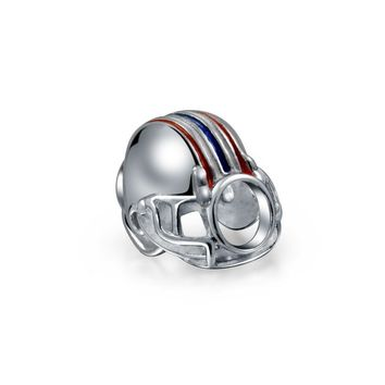 Football Player Sports Team Helmet Charm Bead 925 Sterling Silver