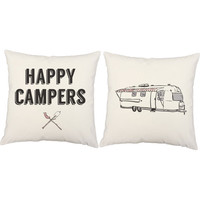 Happy Campers Print Pillows - Camping Pillow Covers and or Cushion Inserts - Travel Pillow, AirStream Print, Wanderlust, Camping Print