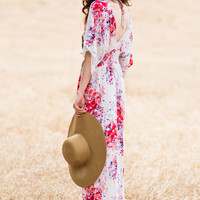 Heather Purple and Red Floral Maxi Dress