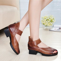 Stylish Design Summer Handcrafts Shoes With Heel Vintage Peep Toe Sandals [6050200193]
