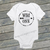 Wild One Shirt Birthday Outfit First Birthday Shirt Baby Boy Birthday Arrow Bodysuit READY TO SHIP 025