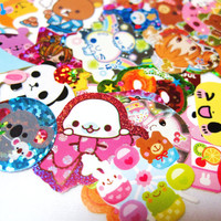 Kawaii Sticker Flakes Supply - 10 Flakes - (S30) Paper Set - Scrapbooking - Cute Stickers - Collectible - Characters - School Supplies