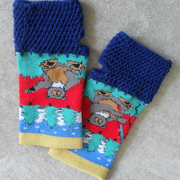 Crochet Recycled Sock Handwarmers Up-cycled Fingerless Gloves Bear & Trees