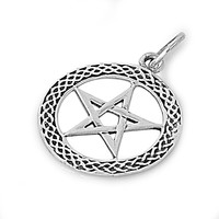 "Sterling Silver Wicca Witchcraft Pentagram Pendant 27MM (Free 18"" Chain)"