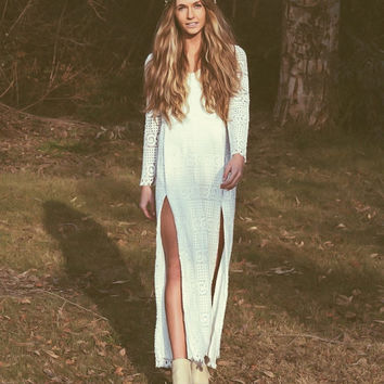 """White Lace Bohemian Dress Vintage Bell Sleeves Wedding Dresses Slit Crochet Lace - """"Quincy"""""""