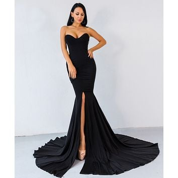 New sexy fishtail skirt dress solid color wrapped chest party evening dress women