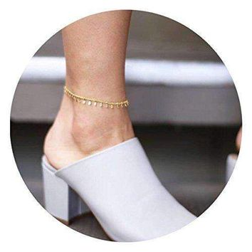 Befettly Womens girls Adjustable Double Layer Handmade Dainty Anklet 14K Gold Fill Boho Beach Foot Chain-4-Feet Chain