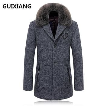 GUIXIANG 2017 autumn new Men's woolen jackets trench coat Men Real fox fur collars windbreaker woolen overcoat Free shipping
