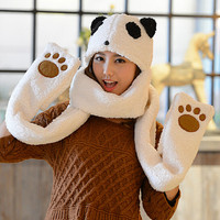 Cute panda hat scarf gloves suits
