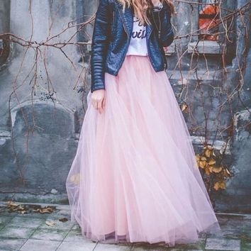 Fairy Style Four Layers Voile Tulle Skirt Lace Princess Long Tutu Skirts