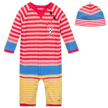 Sonia Rykiel Baby Girls Striped Romper & Hat Gift Set
