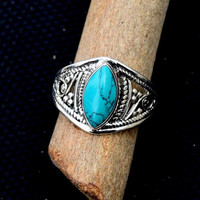Turquoise stone ring, silver ring,  stone ring, silver Turquoise ring, 92.5 sterling silver, Natural Turquoise Silver Ring,  RNSLTR301