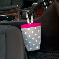 SMALL Car Trash Bag, GRAY Polka Dots,  Women, Men, Car Litter Bag, Auto Accessories, Auto Bag, Car Organizer