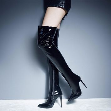 Patent Leather Over The Knee Boots