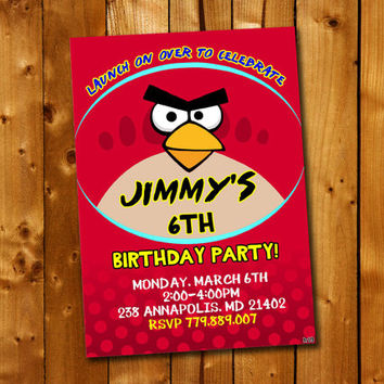 Angry Birds Birthday Party Invitation, Birthday Invitation for little boy and little girl