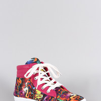 Bamboo Graffiti Round Toe High Top Lace Up Sneaker