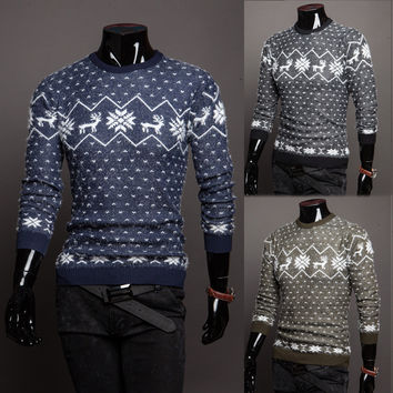 Winter Christmas Men Sweater With Deer O NECK 2016 Polka Dots Sudaderas Pullover Autumn Coat Knitwear Jumper Sueter Hombre Uk