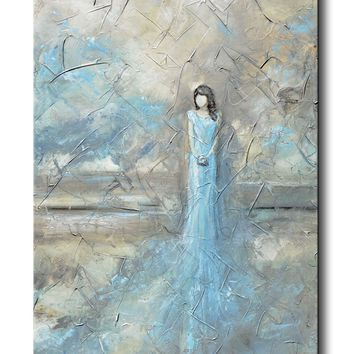 ORIGINAL Abstract Figurative Painting Woman Blue Dress Textured Blue White Grey Home Decor 24x36""