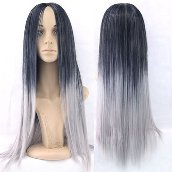 6 Color Long Straight Hair Ombre Wig Heat Resistant Fiber Synthetic Cosplay Wigs